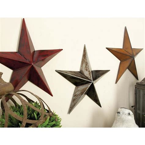 3 pc rustic metal barn star set wall art home decor new american home white red and orange iron barn star wall