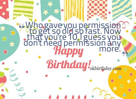 10th Birthday Quotes 10th Birthday Quotes Page 3 Birthday Wishes Quotes