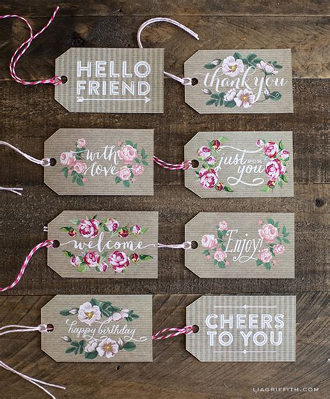 printable gift labels tags by the lia griffith gift tags in kraft paper and vintage roses lia