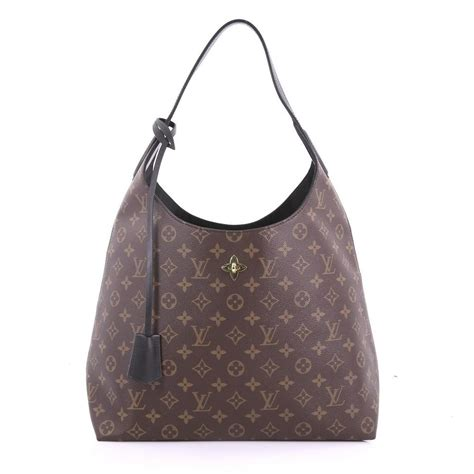 louis vuitton shoulder flower monogram brown leather hobo