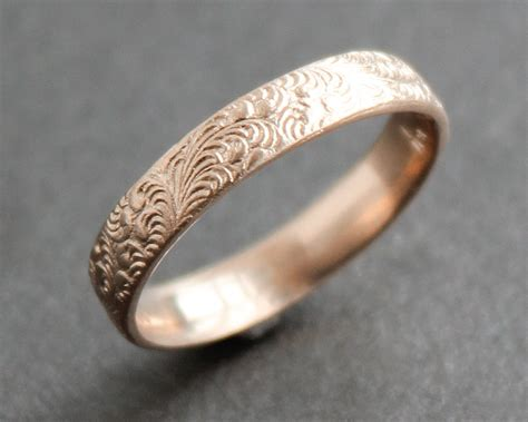 ring pattern in gold 14k solid rose gold feather pattern ring wedding band