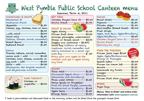 canteen menu template student activities uc portfolio