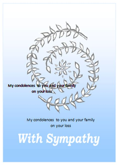 sympathy card template for ms word formal word templates