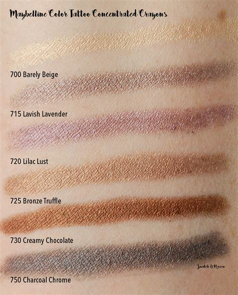 maybelline color tattoo swatches maybelline color concentrated crayons swatch and