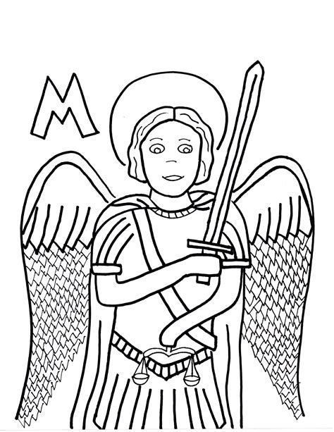 m is for st michael the archangel saints to color