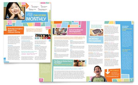 Preschool Kids Day Care Newsletter Template Design Free Magazine Layout Templates For Publisher