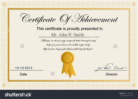 templates for certificates of achievement stock vector certificate of achievement blank pdf