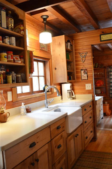 Rustic Cabin Galley Kitchen Rustic Kitchen