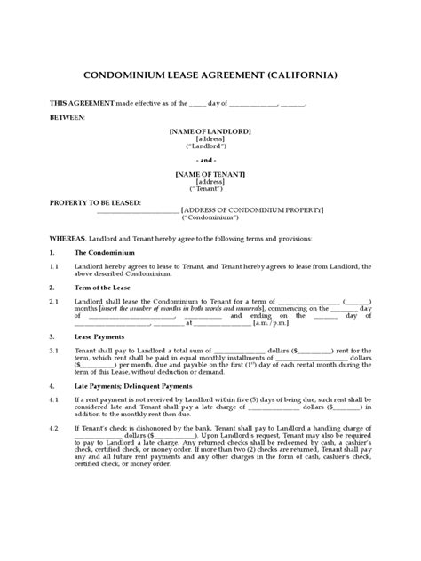 condo lease agreement template condo lease agreement 10 free templates in pdf word