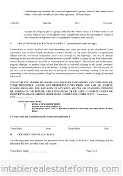 Letter To Lease Due To Mold Real Estate Forms Real Estates And Free Printable On