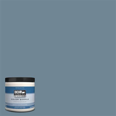 behr premium plus ultra 8 oz hdc ac 24 lyric blue interior exterior satin enamel paint sle