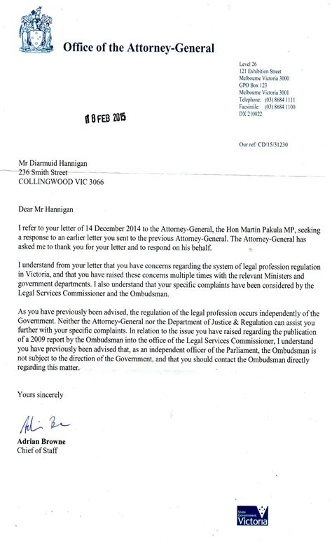 Response Letter To Attorney General The Attorney General