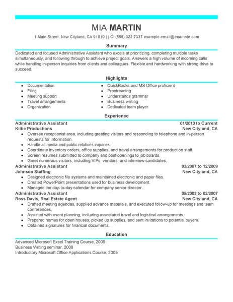 Administration Resume by Best Administrative Assistant Resume Exle Livecareer