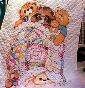 adorable baby crib quilt bucilla sted cross stitch kit