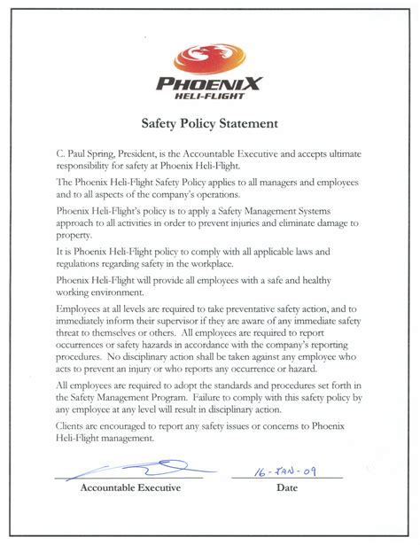 Safety Policy Statement Exles Pictures To Pin On Pinterest Pinsdaddy Safety Policy Statement Template