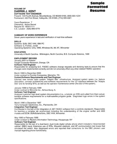 software tester resume format software tester resume sle