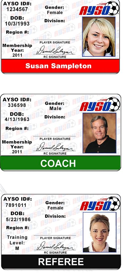 ayso card template ayso player id template