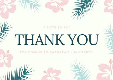 hawaiian thank you card template pink and teal illustrated flowers and leaves border
