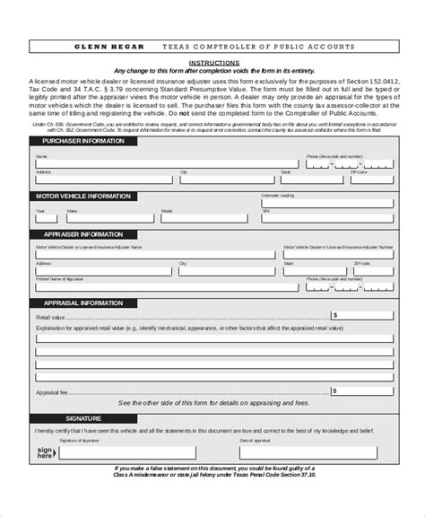 Vehicle Appraisal Letter Sle Vehicle Appraisal Form 7 Documents In Pdf
