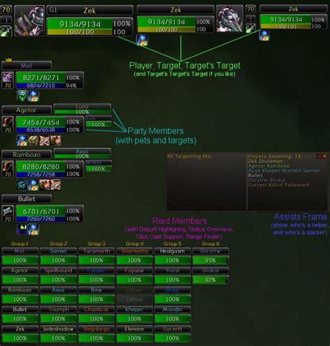 wow raid frame add ons x perl unitframes unit frames world of warcraft addons