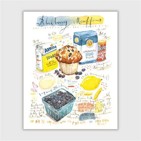 printable muffin recipes blueberry muffin recipe print illustrated recipe painting