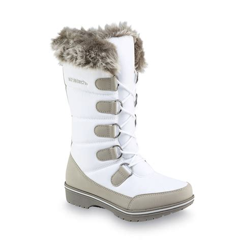 womans white boots athletech s quigley white faux fur mid calf winter