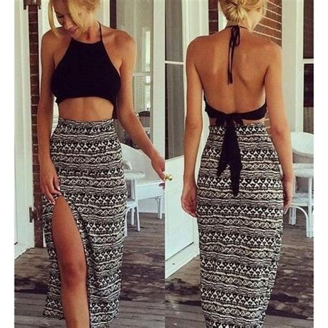 Hq 16664 White Black Set Topcrop black halter top backless cropped top with high slit print skirt nextshe