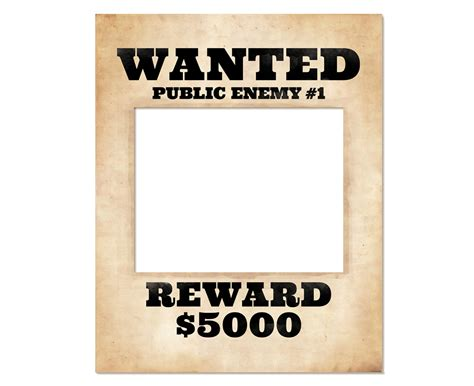 Photo Booth Frame Prop Printable Wanted Poster Wanted Sign Frame Prop Template Free