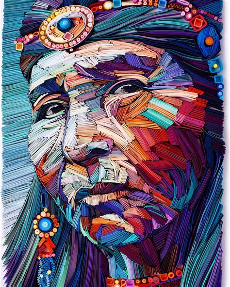Painting 049 Sle Paper by New Densely Quilled Color Blocks Reveal Powerful Portraits