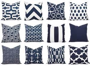 Navy Blue And White Cushions Navy And White Pillow Cover Navy Blue Throw By