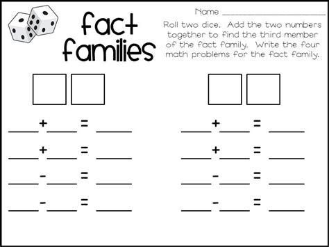 printable blank math worksheets printable fact families math worksheets 1000 images