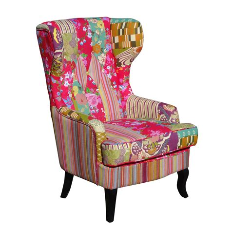 patchwork chairs foxhunter patchwork chair fabric vintage armchair seat dining living room pc073 ebay