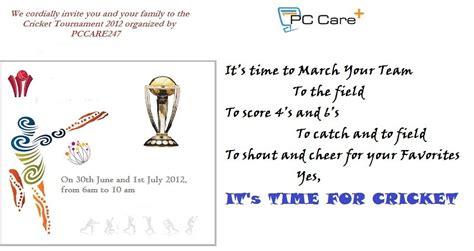 Invitation Letter Format For Cricket Match Cricket Match Invitation Pccare247 Pccare247 Organizes A C Flickr