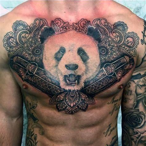panda japanese tattoo japanese style colored chest tattoo of panda bead with