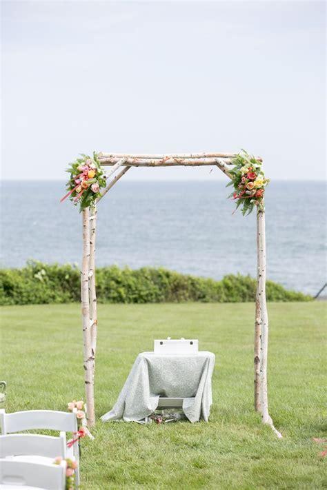 Beautiful birch log wedding arbor.   Wedding   Pinterest