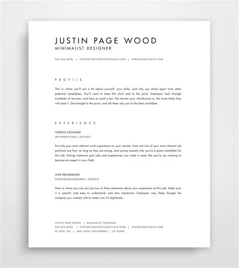minimalist resume template cv template simple resume template professional resume