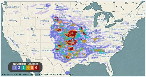 Hailstorms: United States Hail Map   Coryell Roofing