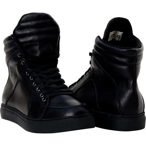 meredith matte black nappa leather high top sneakers