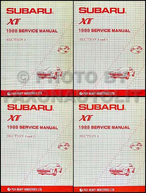 service and repair manuals 1988 subaru xt user handbook 1988 subaru xt repair shop manual original 6 section 4 book set