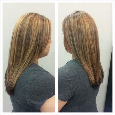 chunky highlights with a partial shave partial blonde highlight and dark mahogany hair color my