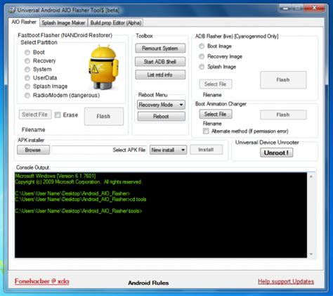 android tools universal android flasher tools version free