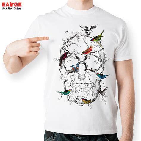 design t shirt rollerblade colorful birds sitting on skull tree branch t shirt design
