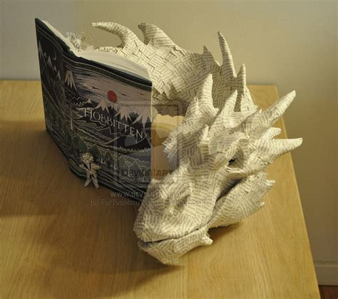 paper book crafts papercraft smaug made from the hobbit book technabob