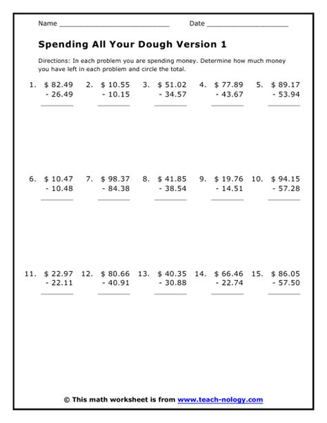 Consumer Math Word Problems Worksheet by Consumer Math Spending Money Worksheets Lesson Plans