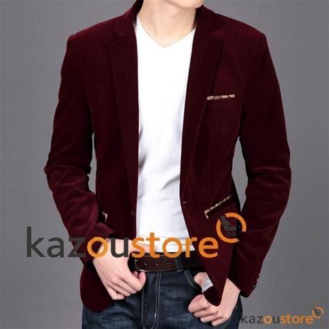 Jaket Jas Blazer Casual Merah detil produk model blazer pria korea merah marun njs137