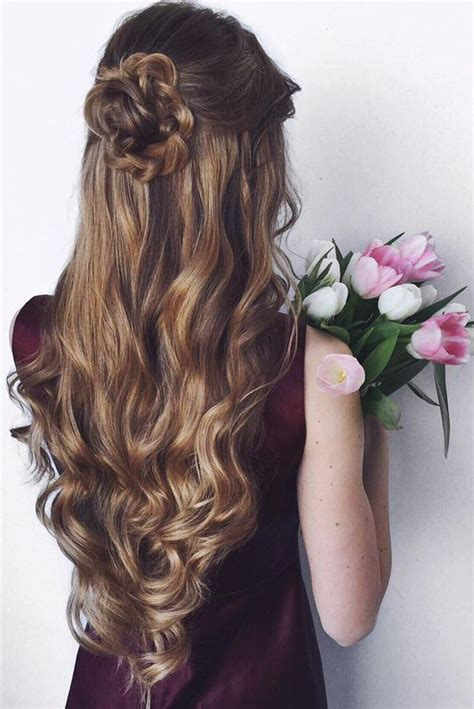 formal hairstyles half up half down curls highlights half up half down curly hair curly prom and