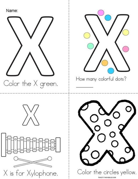 printable letter y book my colorful letter x book twisty noodle