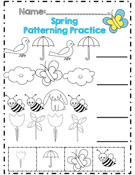 kindergarten activities spring spring patterning practice crafts and worksheets for