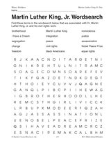 martin luther king jr wordsearch black history month