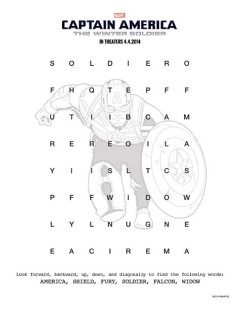 America Search Captain America Printable Word Search Likes This
